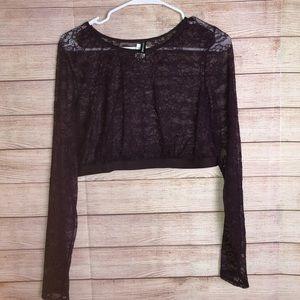 Torrid Deep Purple Lace Long Sleeve Crop Top Sz1